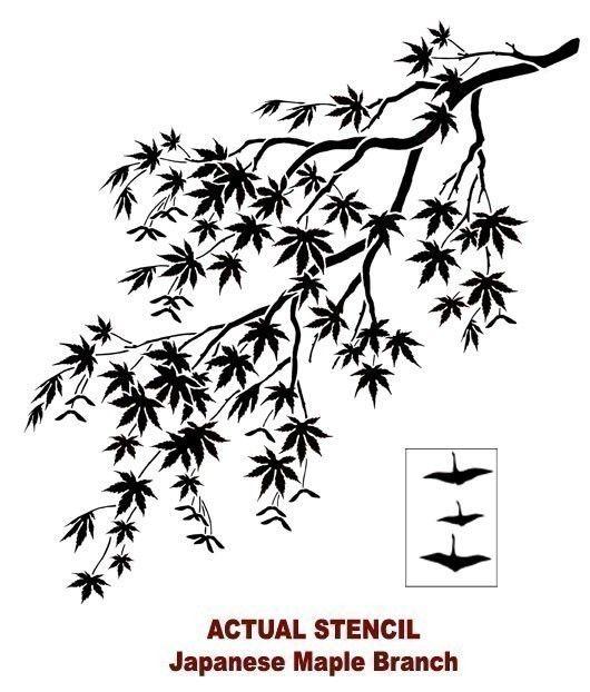 Pochoir Branche Dérable Japonais Pochoirs Réutilisables