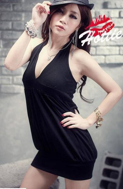 Black Sexy Club Style V-Neck Asain Fashion Collection Tunic