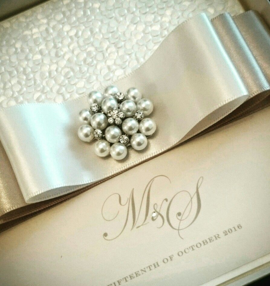 Boxed pearl cluster wedding invitations with luxury satin ribbons ...