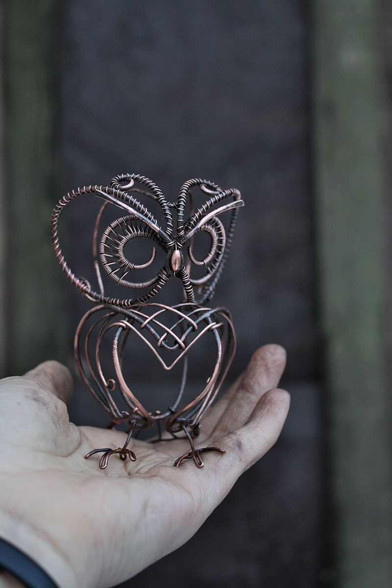 Owl Sculpture - Mini real wire wrapped owl - Metal owl | Pinterest ...