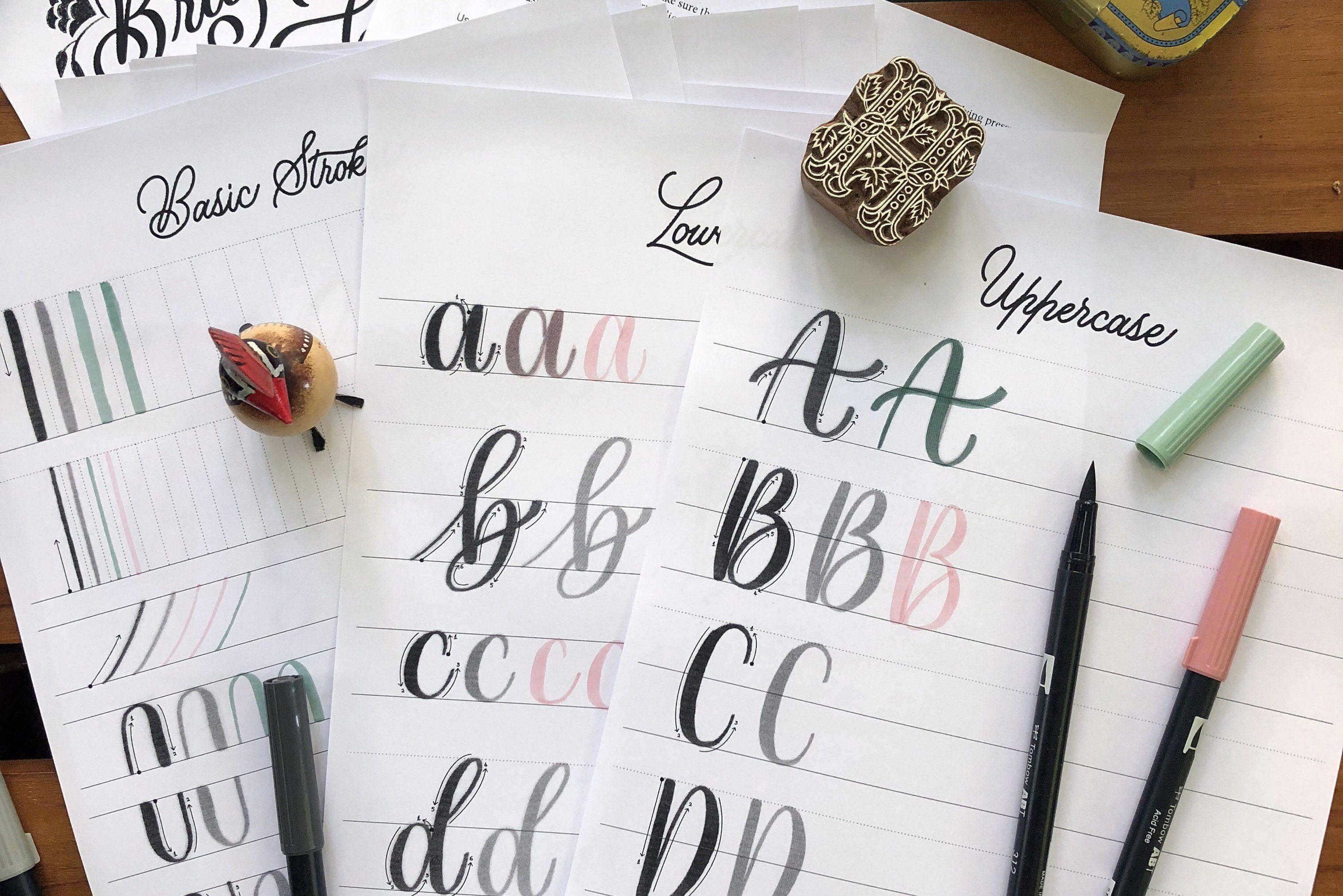 Brush Lettering Worksheets Smaller Flourishes Shaky