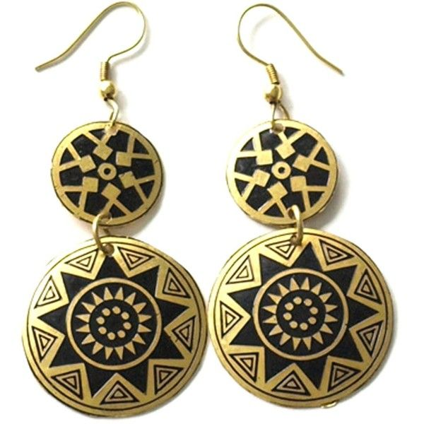 Mata Traders Fair Trade Aztec Earrings Gold 23 liked on