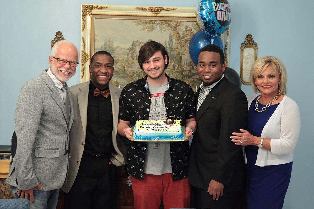 #BehindTheScenes: Pastor Jim, Keenan, Darrick, Caleb, and Lori celebrating the graduates! #Congratulations #JimBakkerShow