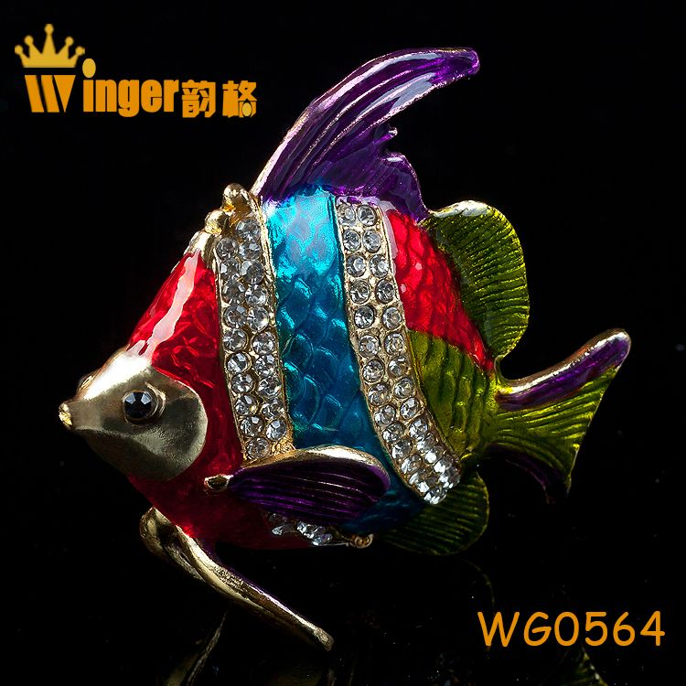 Hot Happy Reunion Figurine Art Collectible Crystal Metal Crafts Animal Trinket Box Casket Gift Colorful Fish Bowl Decoration