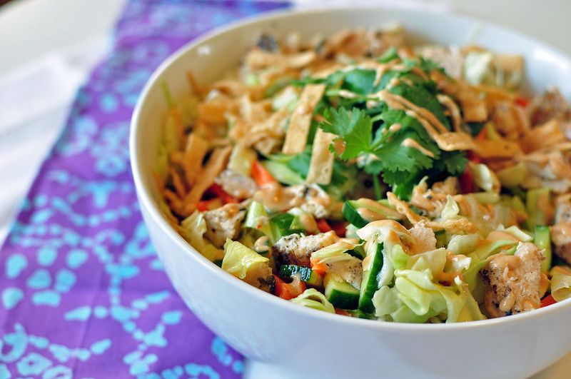 Asian Chicken Salad With Chili Lime And Peanut Dressings Recipe Asian Chicken Salads Asian Chicken Chili Lime