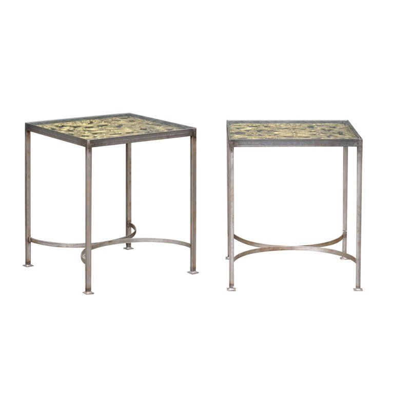 Pair Of Contemporary End Tables Made Of English 19th Century Brass