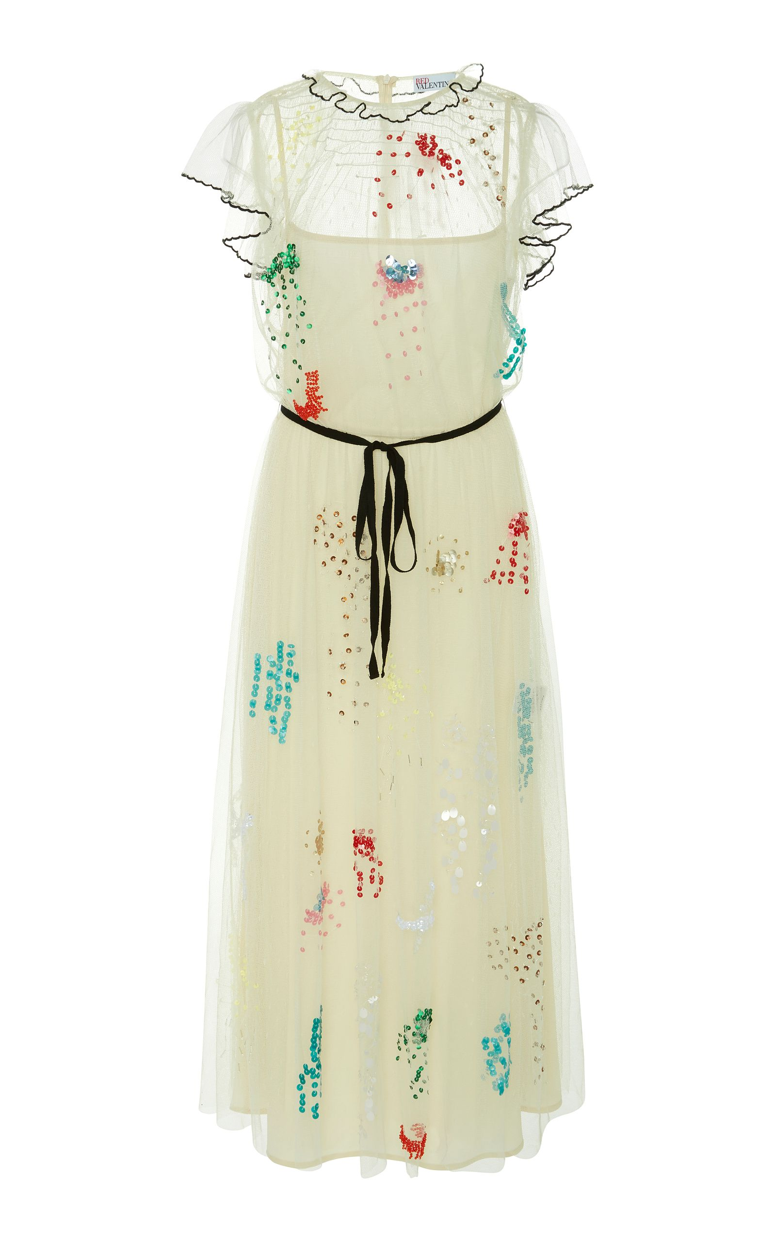 Red Valentino  Bead Embroidered Tulle Dress