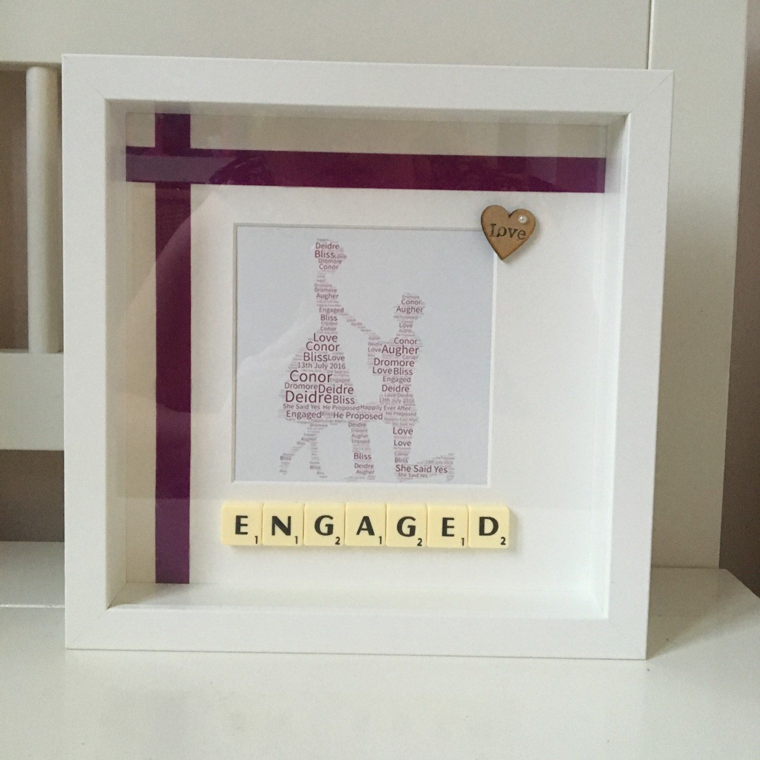 Another beautiful engagement frame! | DIY | Pinterest | Box and Etsy