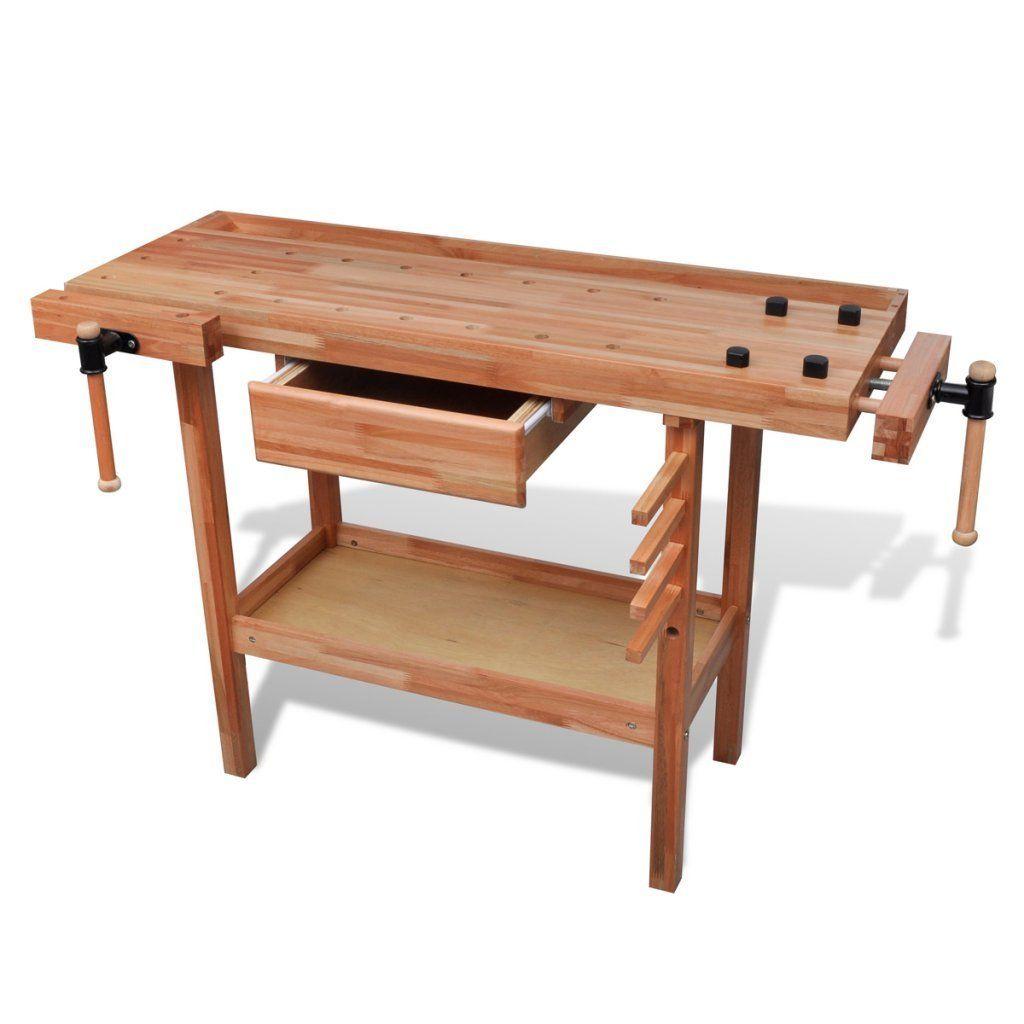 festnight wooden workbench 123 x 52 x 83 cm wood working