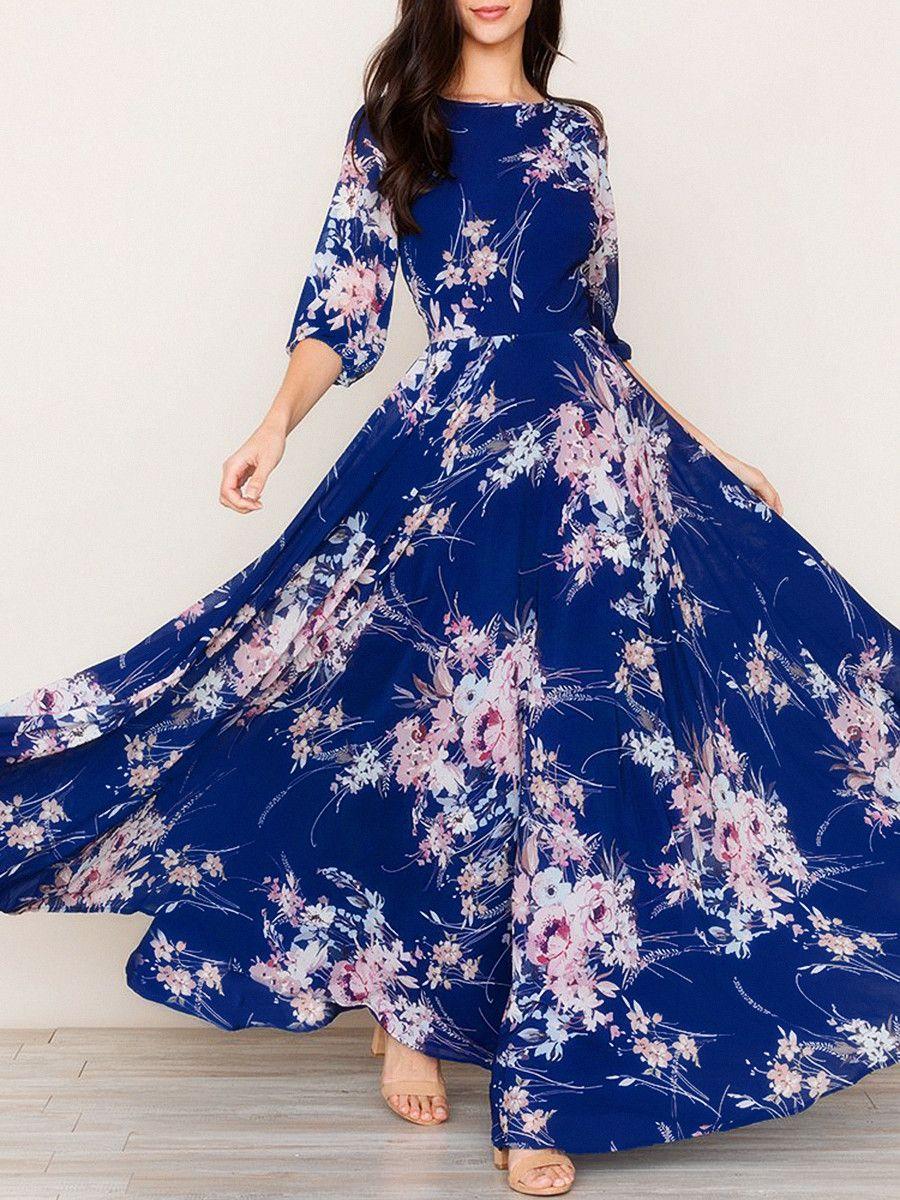 9725b3ea15 Round Neck Printed Maxi Dress in 2019 | Maxi Dress | Floral print ...