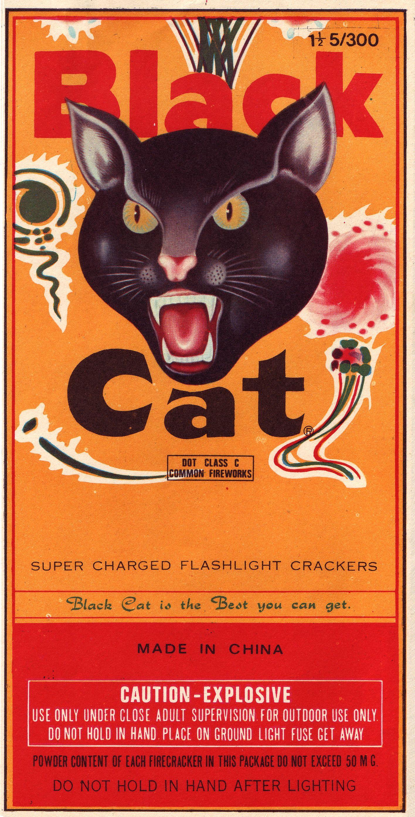 Black Cat Fireworks Firecracker Label Black cat
