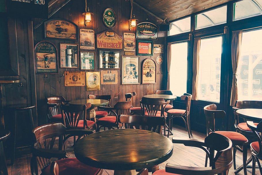round, wooden, cafeteria tables, chairs, inside, room, photo, dining area,  CC0, public domain, royalty free | … in 2020 | Pub interior design, Pub  interior, Irish pub decor