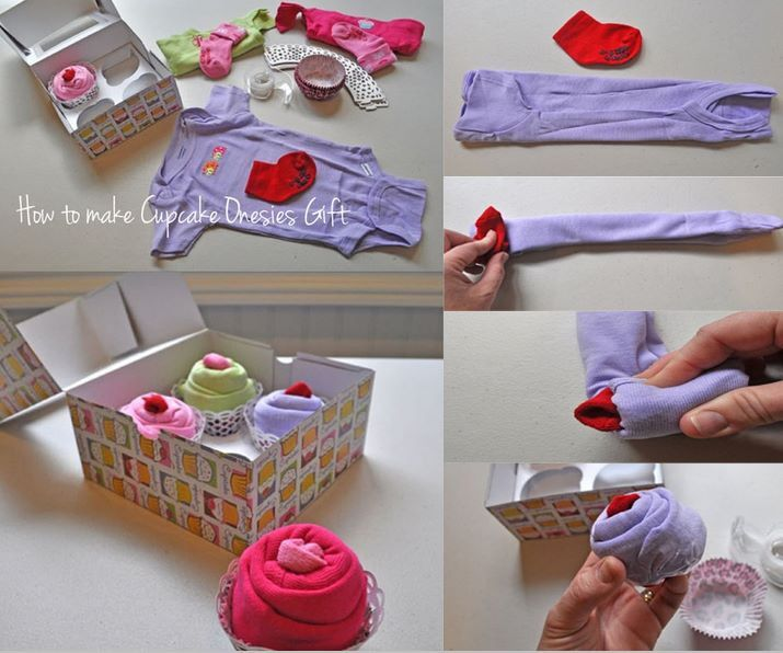 Baby Clothes Rolled Up To Look Like Cupcakes Gift Good Idea Diy Baby Gifts Baby Shower Onesie Baby Shower