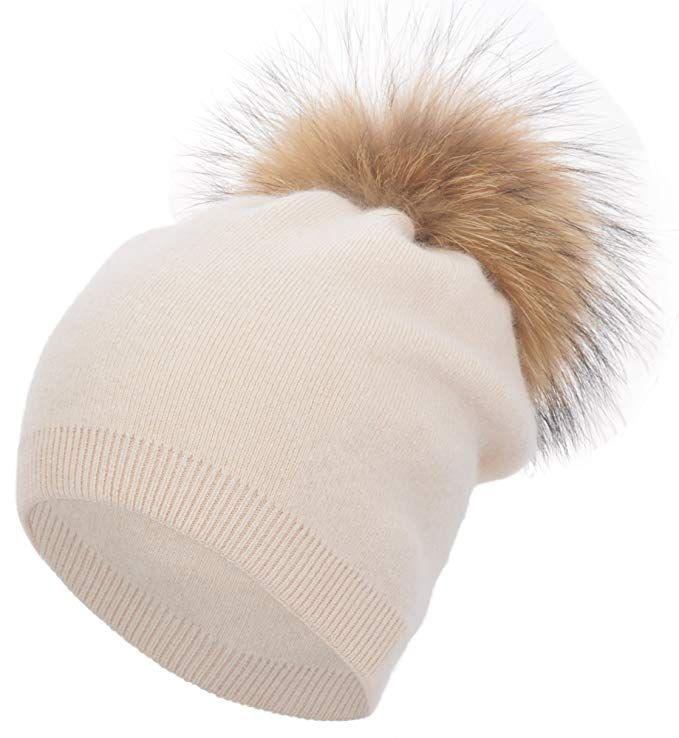 83801d99110 Women s Winter Warm Double-Deck Cashmere Wool Blend Real Fur Pom Pom  Slouchy Knit Beanie Cap Ski Hat Review