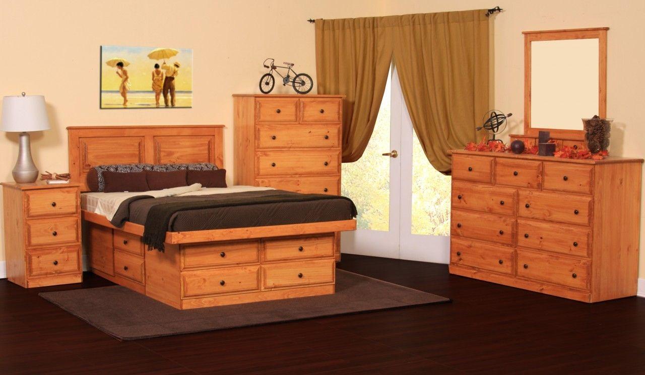Gothic Craft Pine Platform Storage Bedroom Set