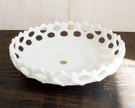 No chips. Vintage Milk Glass Decorative Bowl Lace design