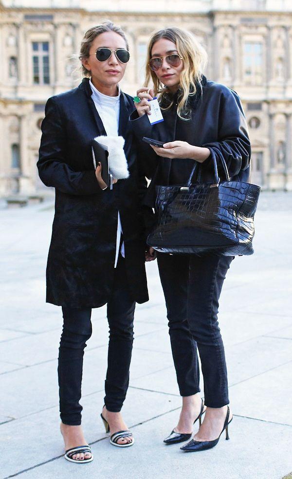 ee0cf443332 Olsens Anonymous Blog Stye Fashion Mary Kate And Ashley Olsen Twins All  Black On Black Basics Paris Croc Bag Pants Jeans Sandals Slingback Pumps  Coats