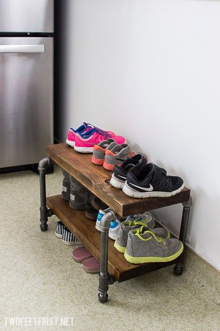 diy industrial shoe rack different things industrial. Black Bedroom Furniture Sets. Home Design Ideas