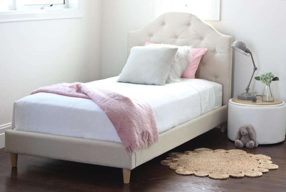 MIA King Single Upholstered Bed 439.95 Mattress not