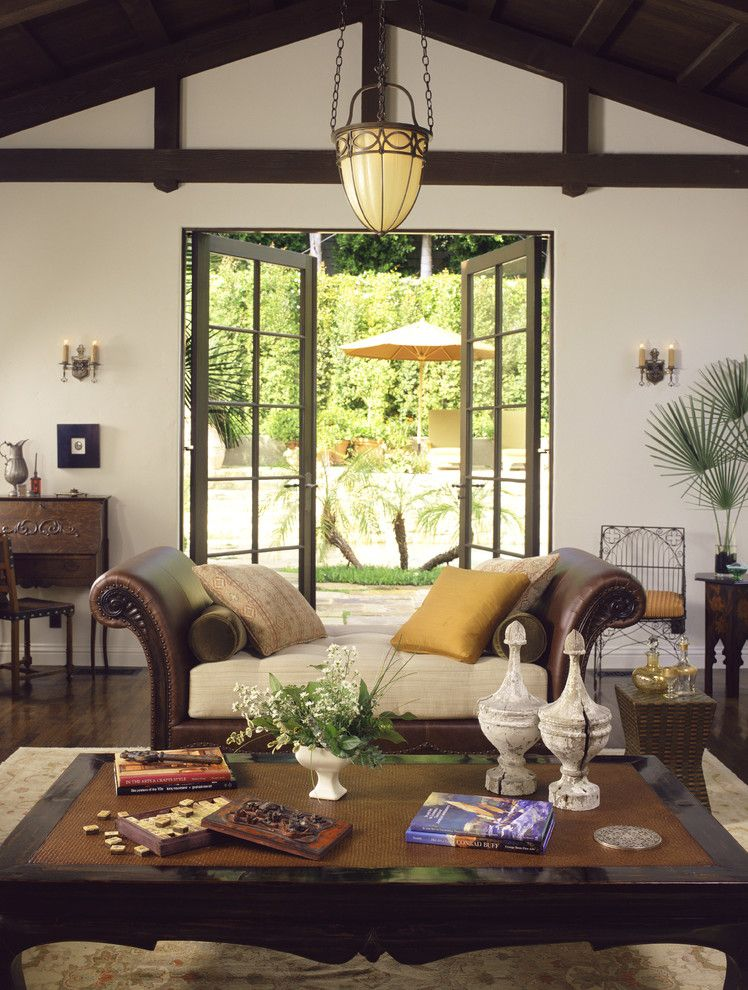 Like The Daybed In Front Of The Doors Our Living Room Maybe Mediterranean Classic Mediterranean Living Room Los Angeles Tommy Chambers Interiors