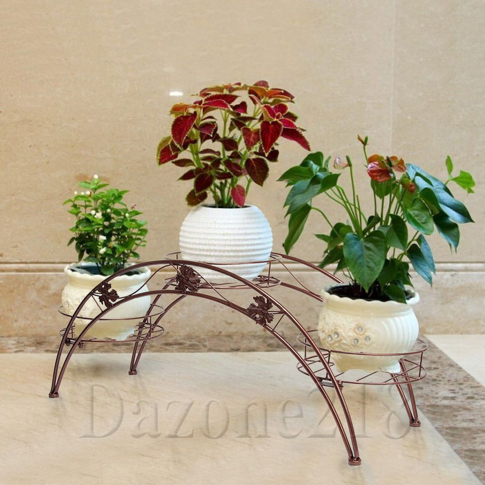 3 Tier Arch Leaf Design Flower Pot Plant Stand Brown Wrought Iron