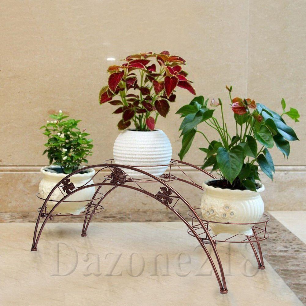 Ornamental Metal Round Top Garden Planter Arch: 3 Tier Arch Leaf Design Flower Pot Plant Stand Brown