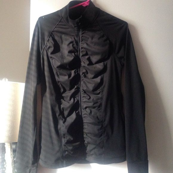 VS PINK Black Sport Fitness Top Cinched down middle stretch zip up jacket. Size L. They don't sell these in retail stores anymore but I found it at an outlet. Love it! Has slots for thumbs very comfortable but letting go of it because I am moving and need to downsize. Victoria's Secret Jackets & Coats