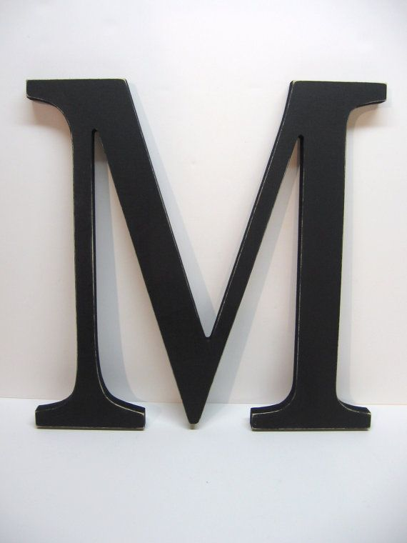 Wood Letter M Sign 15 Inch Black Distressed Initial Monogram Personalized Wedding Decor Nursery Gallery Wall