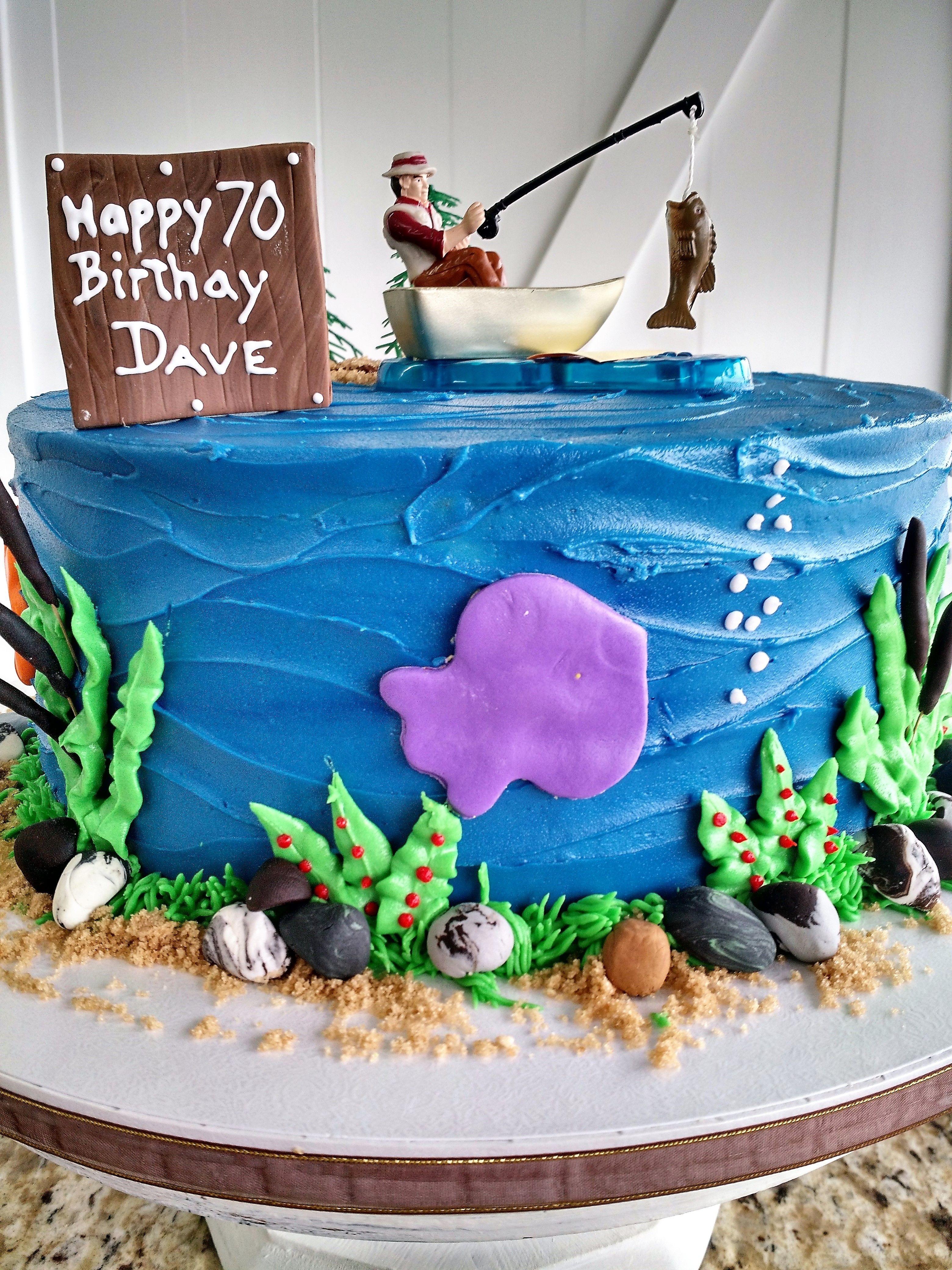 Custom Gone Fishing Birthday Cake Made By Chef Aura Fuenmayor