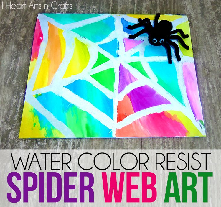 Color Art Ideas For Preschoolers : Create spooky and fun #watercolor resist spider web art using