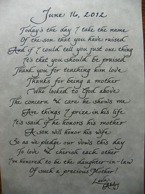 The Personal Touch Mother In Law Poem Great Gift Idea How Very Sweet Wedding Daywedding