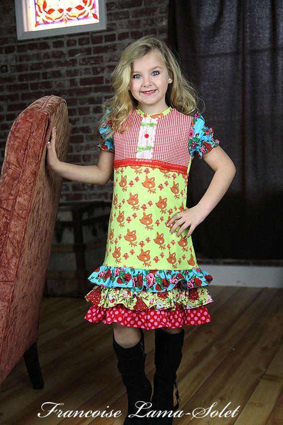 49ad4d8b35 Girls Dress jersey dress red green blue dress ruffled dress short sleeve  dress Custom spring summer
