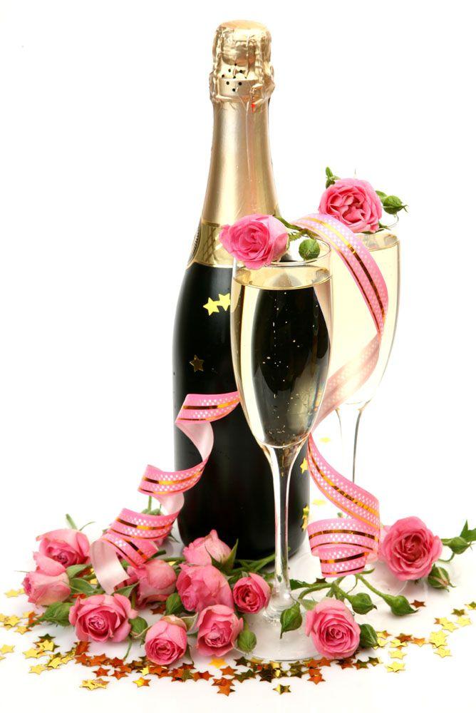 Grattis Bilder Med Champagne Och Blommor