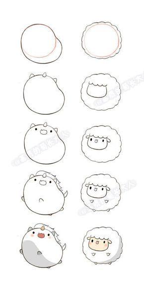 180 Desenhos kawaii para desenhar e colorir