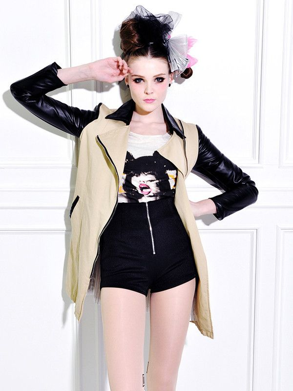 contrast color stitching leather coat