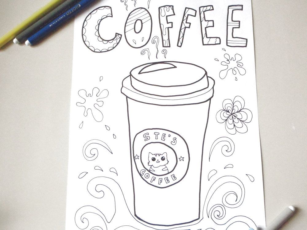 34+ Coffee coloring pages for adults info