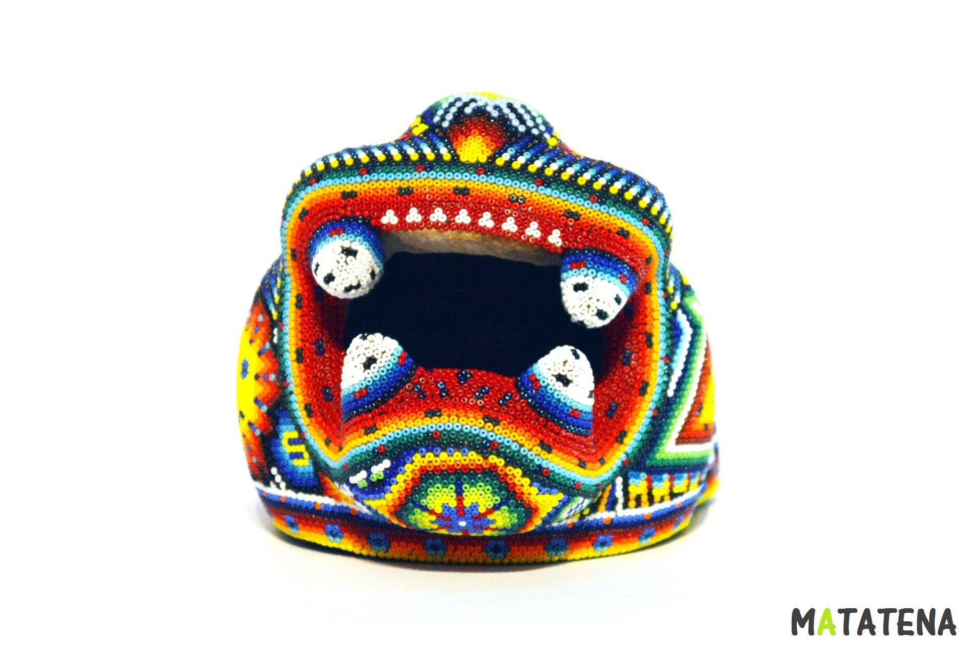 Cabeza De Jaguar Huichol Mediana Medidas 13 5 X 13 5 X 15 5 Cm Artesania Huichol Huichol Arte Huichol