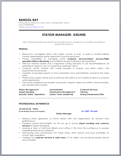 airline station manager resume