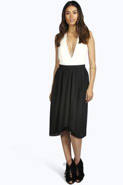 244b45749 $14.00 - In rust for Christmas - Trixie Chiffon Dipped Hem Full Midi Skirt  at boohoo