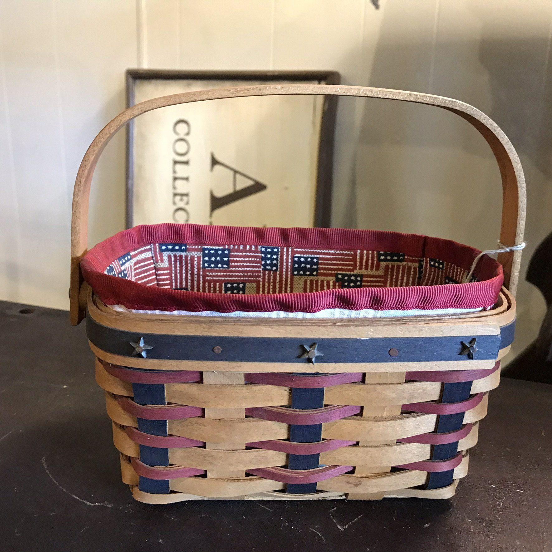 Longaberger Tea Basket Liner Traditional Red