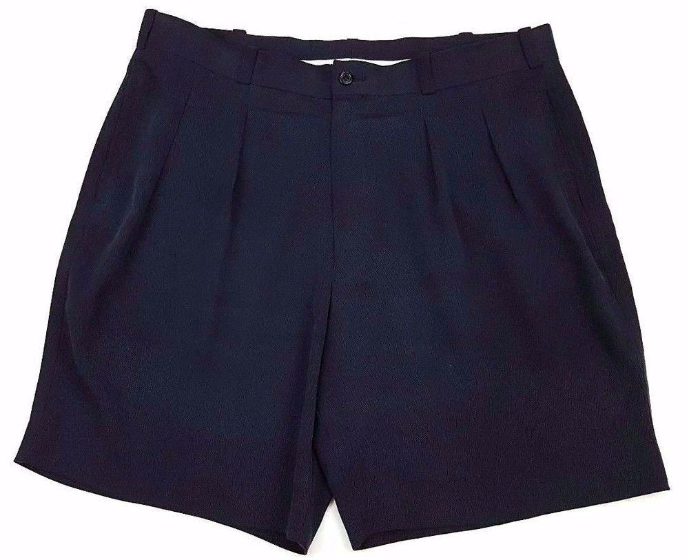 REYN Spooner SILK Shorts BLACK 38 Mens SIZE Waist PLEATED Herringbone SZ Short** #ReynSpooner #CasualShorts