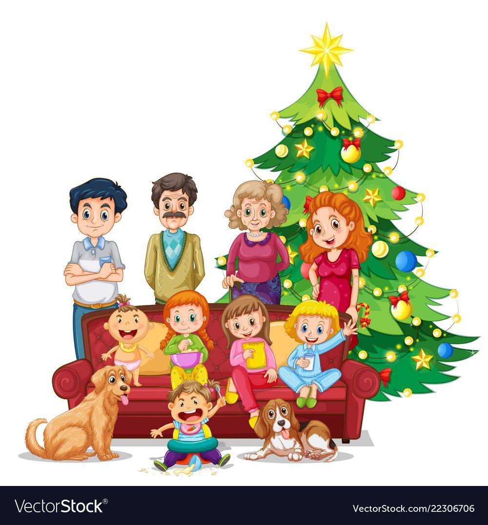 Family Gathering On Christmas Vector Image On Vectorstock Christmas Vectors Children Sketch Family Cartoon