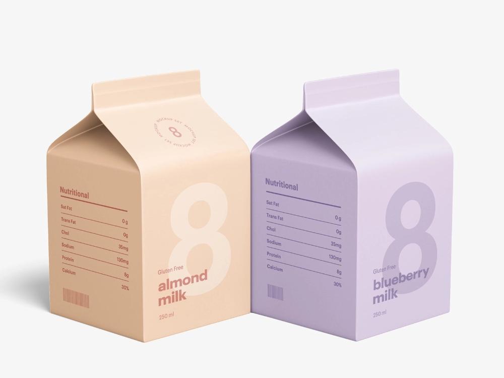 Download Milk Carton Mockup In 2020 Milk Carton Carton Design Milk Packaging
