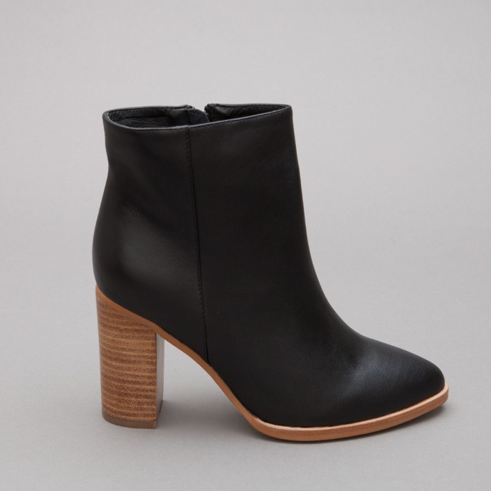 High Heeled Black Leather Boot With Wooden Block Heel Fits True To