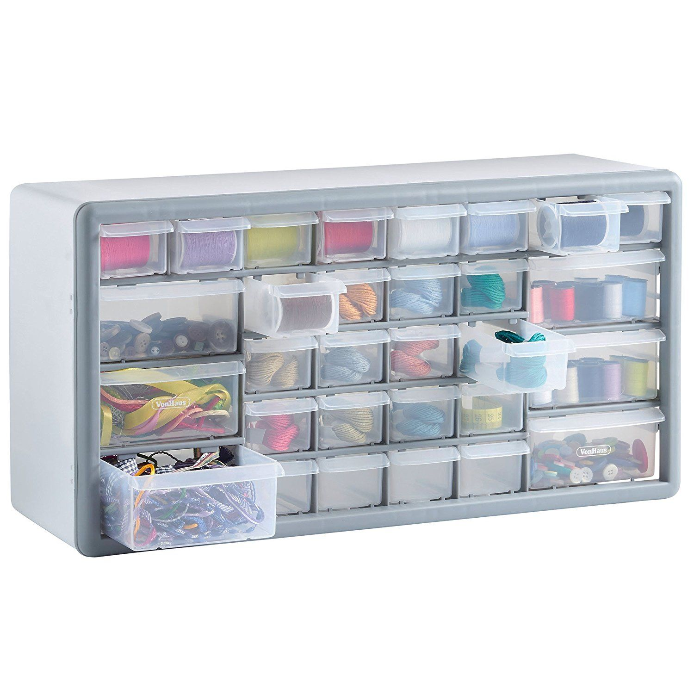 VonHaus 30 Drawer Parts Storage Organiser Cabinet - White/Grey ...