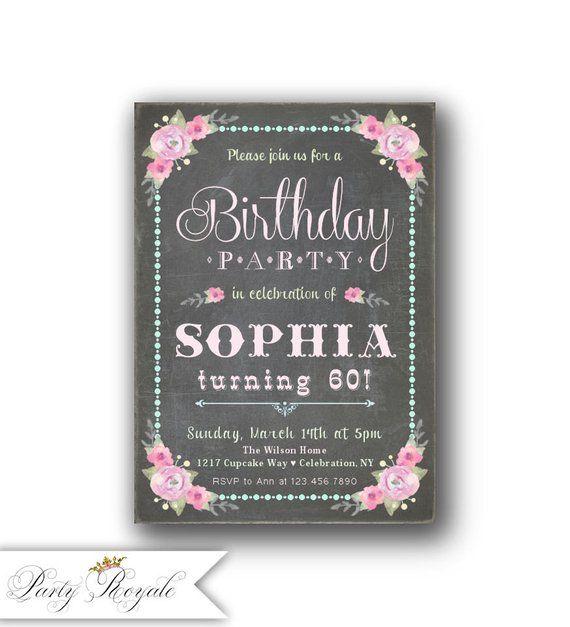 60th Birthday Invitation For Women Her Invite Female