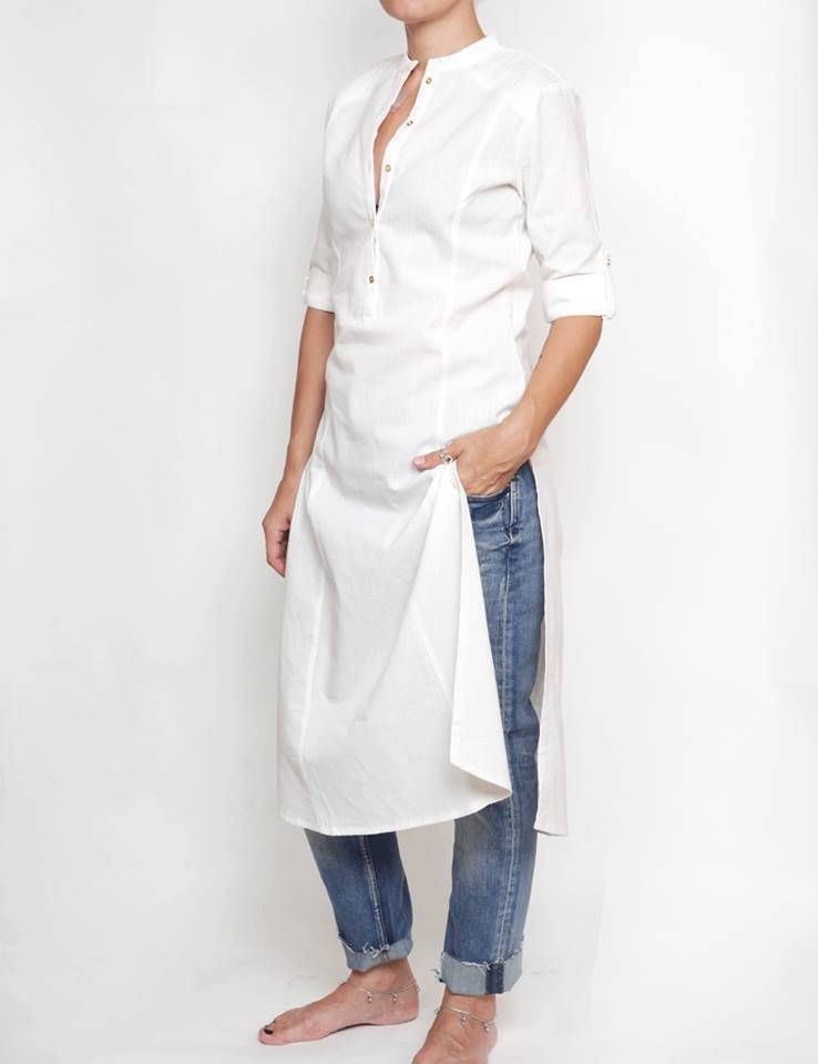 a04e93ccc1d91c Woman long sleeved white shirt, Linen and cotton tunic, white kurta, tunic  dress, white blouse, long blouse, maxi tunic, women's shirt dress by  CurryMoon on ...
