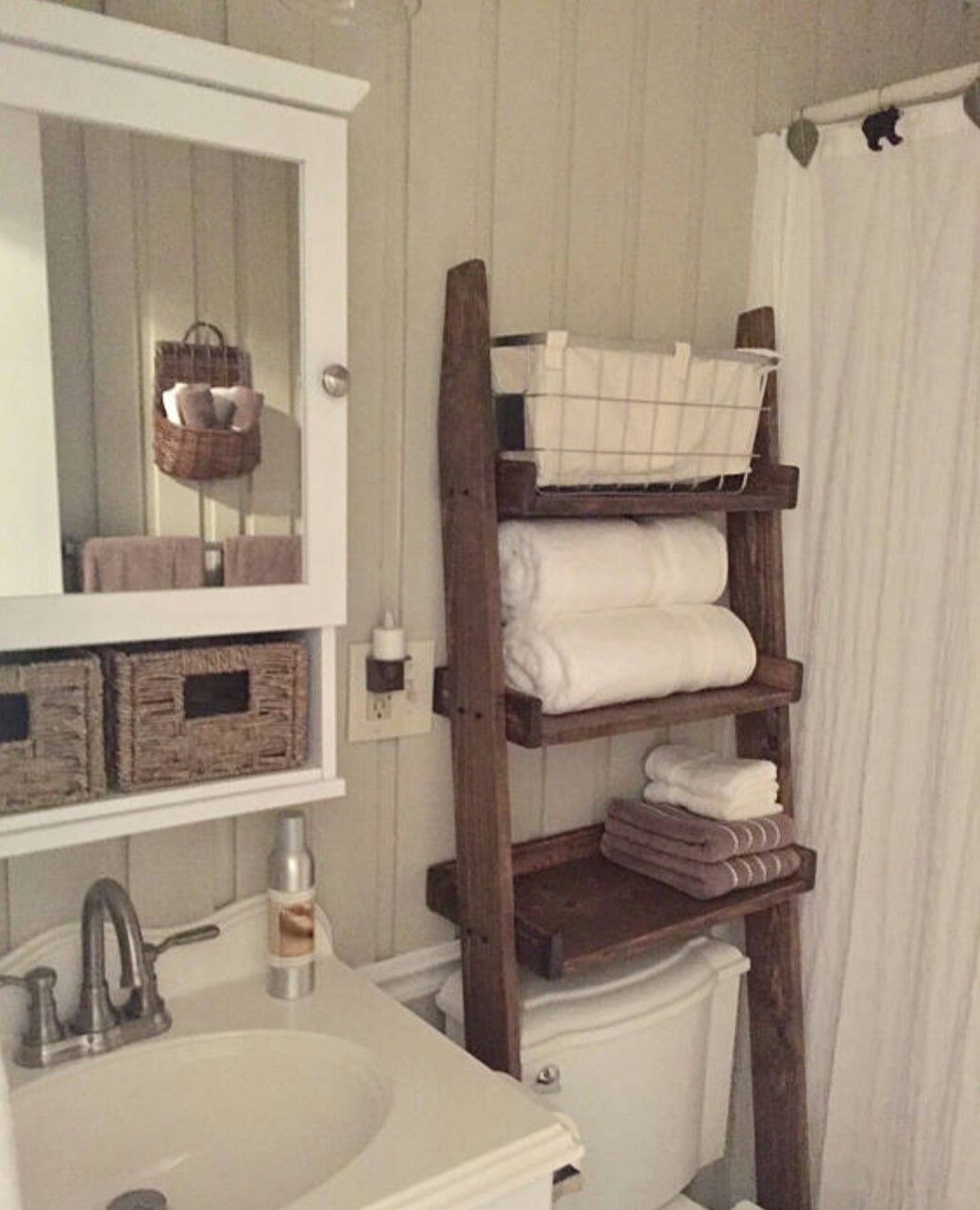 Over The Toilet Leaning Ladder Shelf Bathroom Space Saver Over The Toilet Ladder Small Bathroom Storage