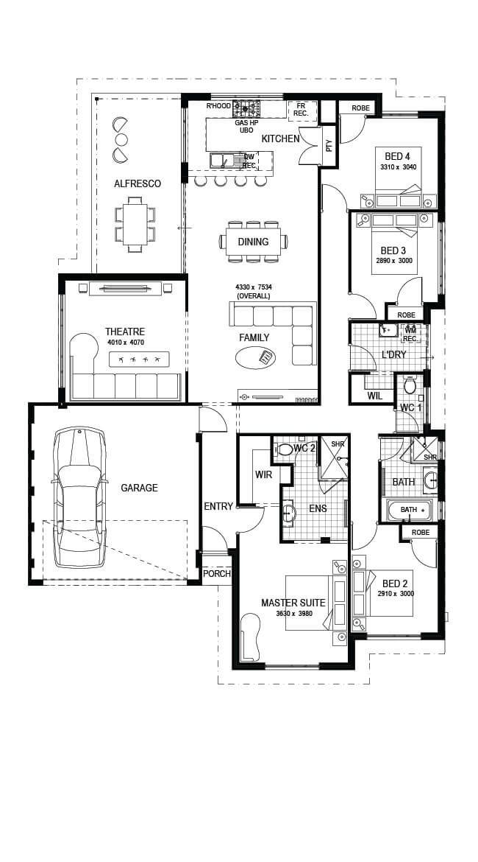 The Bramley: 4 Bed, 2 Bath, 15m Luxury House Plan ...