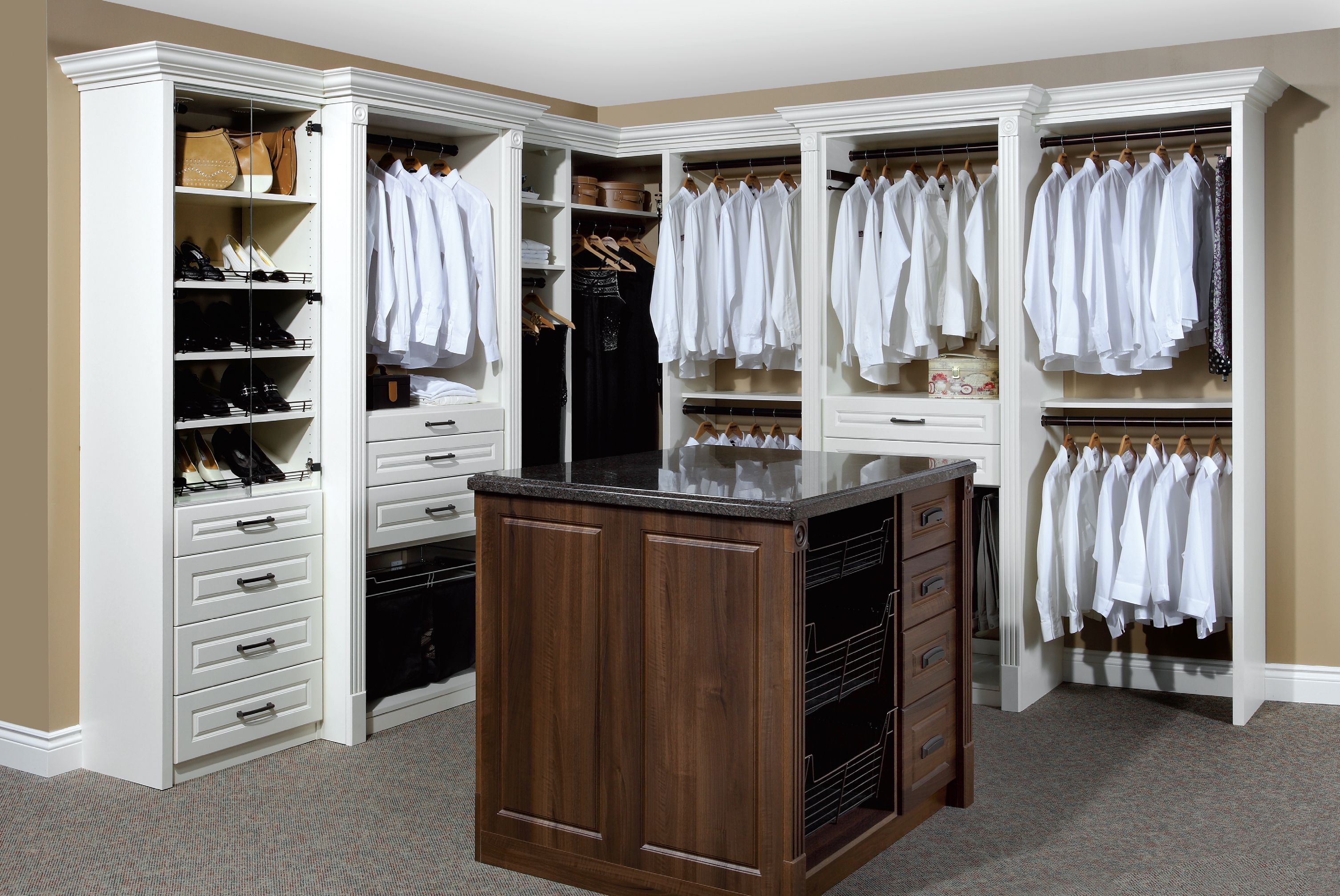 Awesome White Polished Open Wardrobe Design With Brown Square Dresser  Storage In Small Space White Closet